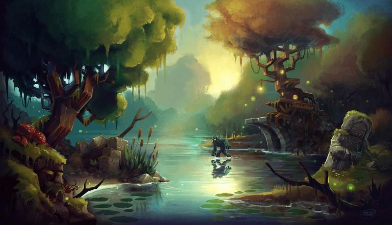 湖と樹木がそびえ立つ画像