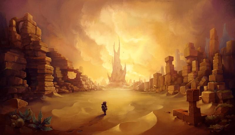 砂漠で歩くプレイヤーと城