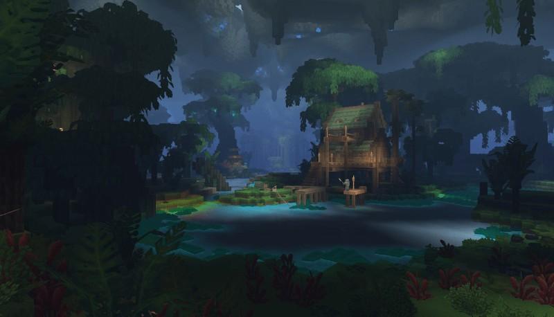 池と掘っ立て小屋