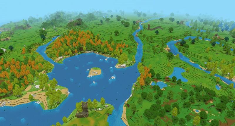 森林や湖が生成される